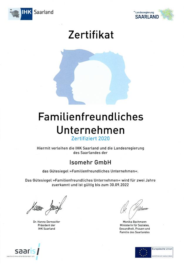 Familien Freundliches Unternehmen Zertifikat